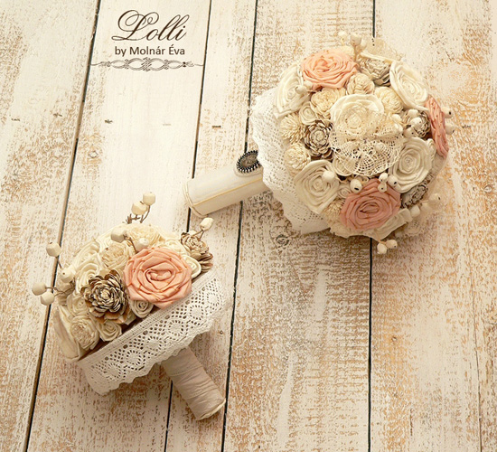 Különleges menyasszonyi csokrok selyemvirágból